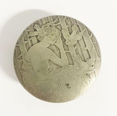 Poudrier en métal argenté et intérieur métal...