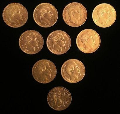 10 pièces en or de 20 francs  1860HB; 1860A; A1861; A1863; A1864 x 2; A1867; HB1868...