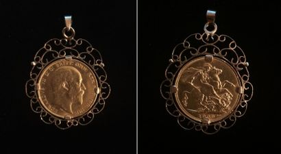 Une pièce Edouard VII 1909 montée en pendentif...