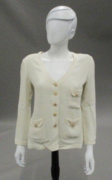 RENATA  - une veste en piqué crème (T : 38)...