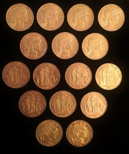 Ensemble composé de 16 pièces de 20 francs...