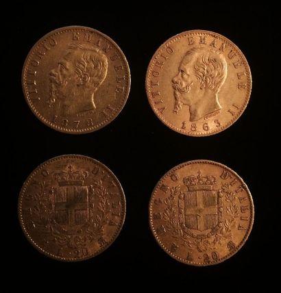 Ensemble composé de 4 pièces de 20 lires type Victorio Emanuele II : 2 x 1863, 1878,...