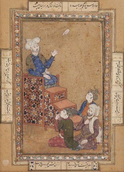 Miniature persane figurant un maître et ses trois disciples. Huit cartouches en...