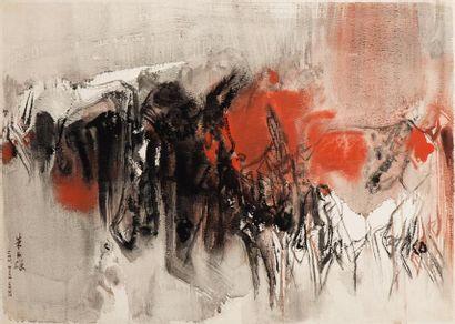 CHU TEH-CHUN (1920-2014)  Composition, circa 1965  Aquarelle sur papier signée en...