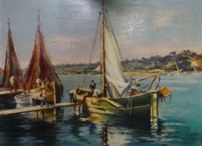 Charles GIRAUDON (Xxème siècle )  Les Pêcheurs  Huile sur panneau  60 x 82 cm  Signé...