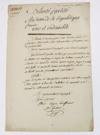 [CARRIER (Jean-Baptiste), 1756-1794.] Document...