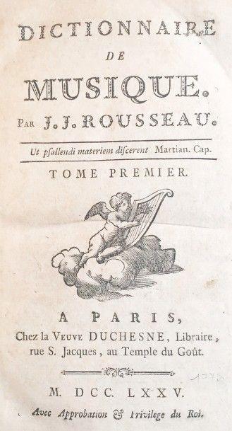 Jean-Jacques ROUSSEAU (1712 - 1778)  Dictionnaire...