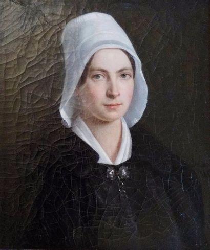 Ecole FRANCAISE du XIXème siècle  Portrait de femme  53 x 44,5 cm  Signé au centre...