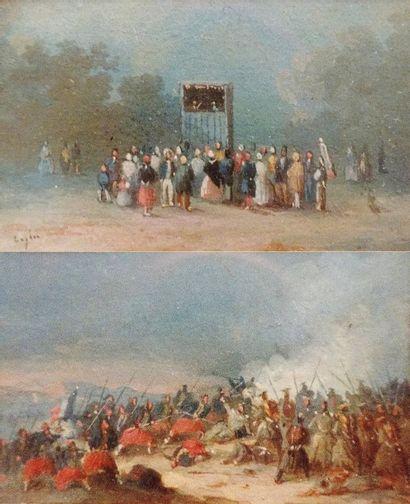 Scène militaire et Guignol  Deux aquarelles...