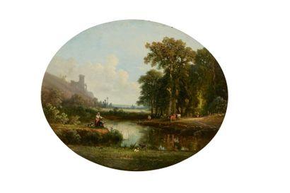 Ecole FRANCAISE vers 1830  Bord de rivière...
