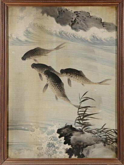 JAPON  Daim et carpes  Deux textiles peints...