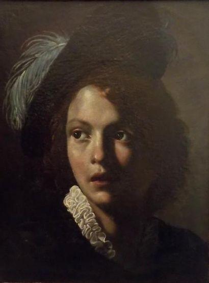*Ecole ROMAINE vers 1620  Tête de jeune homme...