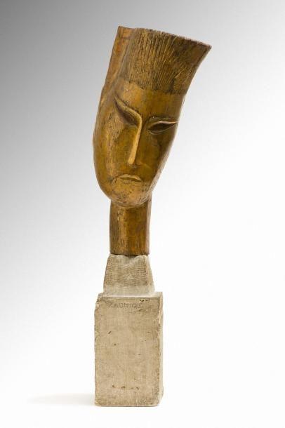 Ossip ZADKINE (Smolensk 1890 - Paris 1967) Tête d'homme, Bouddha, 1919 Sculpture...