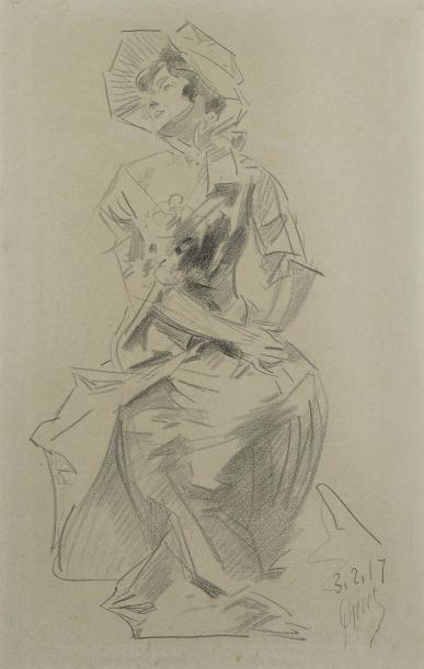 Jules CHERET (Paris 1836 - Nice 1932)  Jeune...