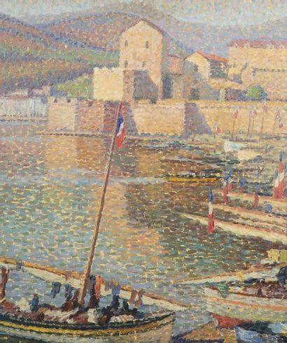 Henri MARTIN (1860 - 1943) Le port de Collioure Huile sur panneau 65 x 55 cm Signé...