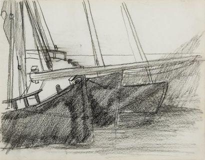 Roderick O'CONOR (Castelplunket1860 - Nueil sur Layon 1940)  Les bateaux  Fusain...