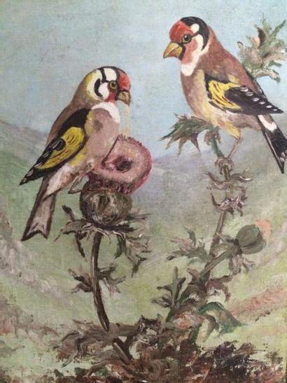 Ecole Française du XXème siècle  Couple d'oiseaux...