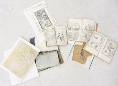 Ensemble comprenant quatre volumes Meiji...