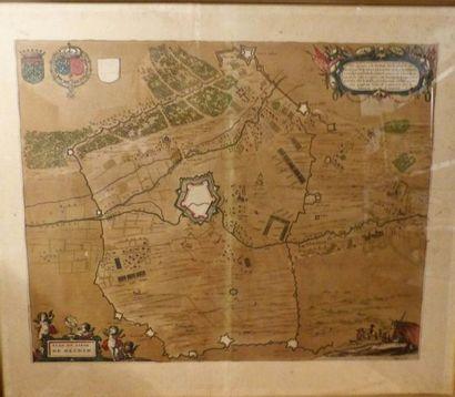 *BLAEU  Plan du siège de Hesdin,  Vers 1645...