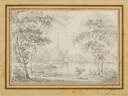 *Aignan-Thomas DESFRICHES (1715-1800)  Paysage...