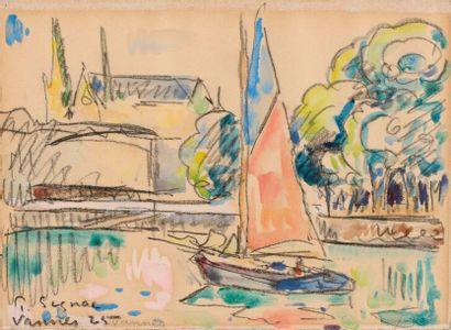 Paul SIGNAC (Paris 1863 - 1935)  Vannes, 1925  Aquarelle, gouache et fusain sur...