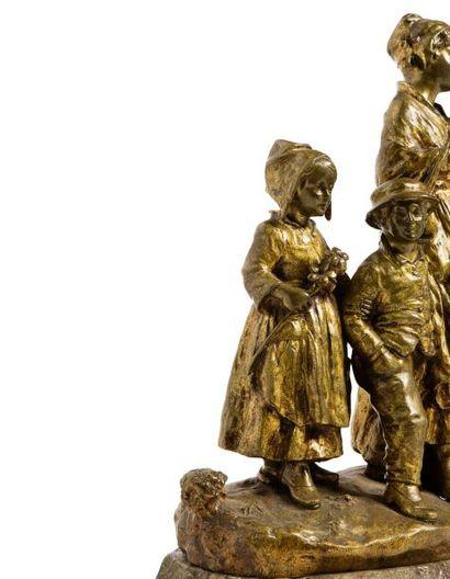 """Joseph d'ASTE (1881 - 1945)  """"La Fête au Village""""  Bronze à patine dorée représentant..."""