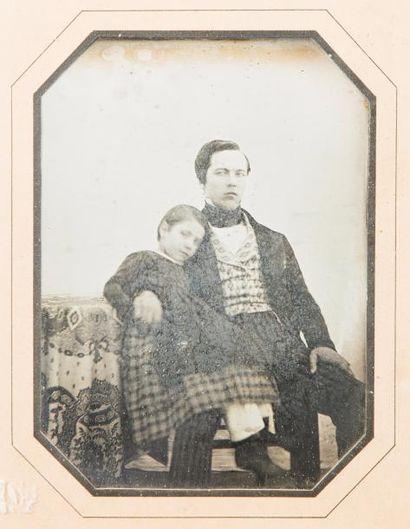 Auteur non-identifié François Lamaille et sa fille Léona, 1843  Daguerréotype 1/2...