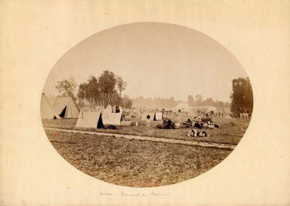 Gustave LE GRAY (1820-1884)  Le camp de Châlons, 1857  - Vue du camp  - Tente...