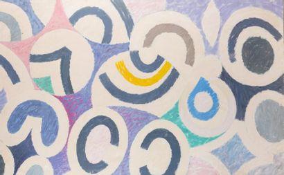 René RICHETIN (1923-2008)  Composition, 1970  Technique mixte sur toile  200 X 125...
