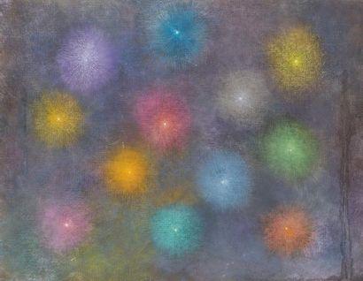 René RICHETIN (1923-2008)  La nuit bleue, 1995  Huile et pastel sur toile  115 x...