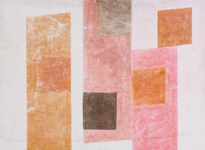 René RICHETIN (1923-2008)  Composition  Technique mixte sur toile  55 x 75 cm  Signé...