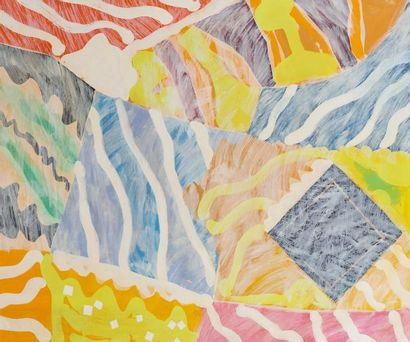 René RICHETIN (1923-2008)  Composition circa 1980  Technique mixte sur toile  101,5...