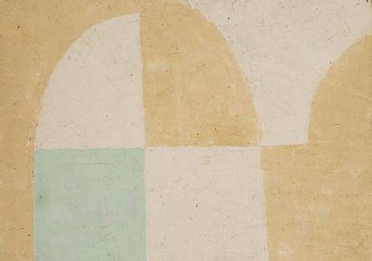 René RICHETIN (1923-2008)  Composition  Technique mixte sur toile  24 x 33 cm
