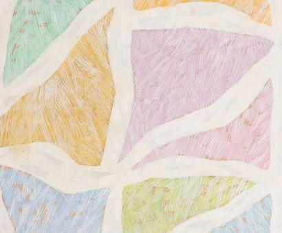 René RICHETIN (1923-2008)  Composition, 1987  Technique mixte sur panneau  55 x 66...