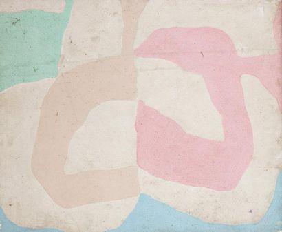 René RICHETIN (1923-2008)  Composition  Technique mixte sur panneau  75,5 x 90 cm...