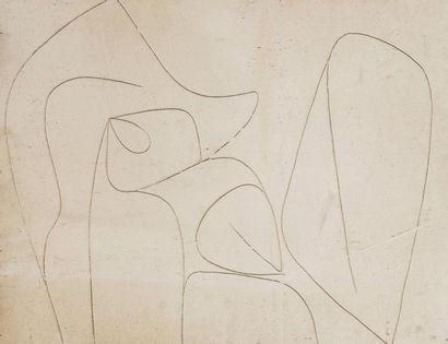 René RICHETIN (1923-2008)  Composition  Technique mixte sur panneau  50x 65 cm