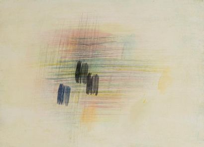 René RICHETIN (1923-2008)  Composition, 1960  Technique mixte sur toile  54 x 73...