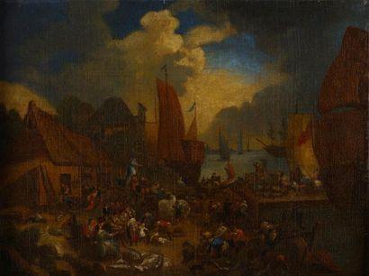 Ecole FLAMANDE du XVIIIème siècle, suiveur de Pieter BOUT  Scène de port  Toile...