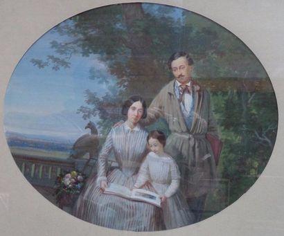 Attribué à Marius ENGALIERE (1824-1857)  Portrait de famille  Gouache sur papier...