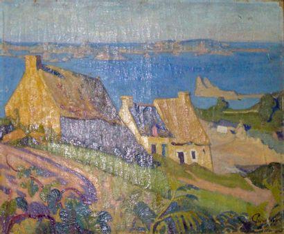 CHEVALIER Ernest Jean (1867 - 1920) Golfe du Morbilhan Huile sur toile 65 x 54 cm...