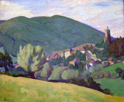 CHEVALIER Ernest Jean (1867 - 1920) Village en montagne Huile sur toile 59 x 71...