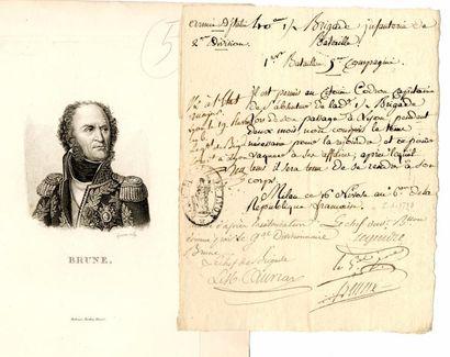 BRUNE (Maréchal Guillaume, 1763 -1815). Congé...