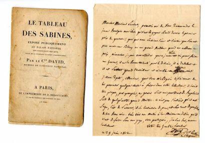 DAVID (Jacques-Louis, 1748 – 1825). Lettre...