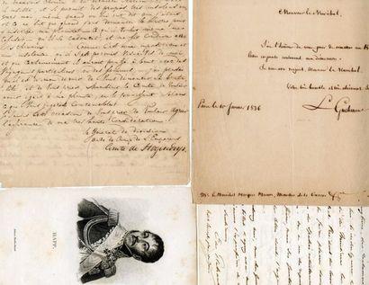 [Généraux]. 6 autographes des généraux Flahault,...
