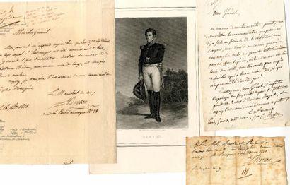 [Généraux]. 5 autographes des Généraux Ramel,...