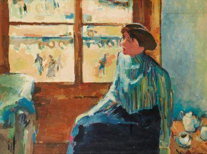 Ecole Française du XX ème siècle Femme devant la fenêtre Huile sur isorel 54 x 71...