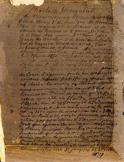 ECOLE FRANCAISE DU XVIIème SIECLE Portrait de Charlotte de Montmorency Papier marouflé...