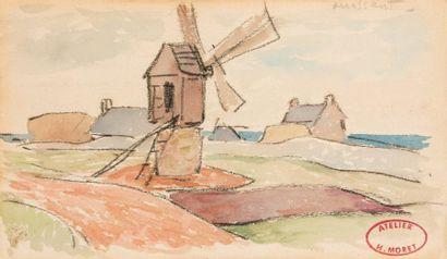 Henry MORET (Cherbourg 1856 - Paris 1913) Moulin à Ouessant Aquarelle sur trait de...