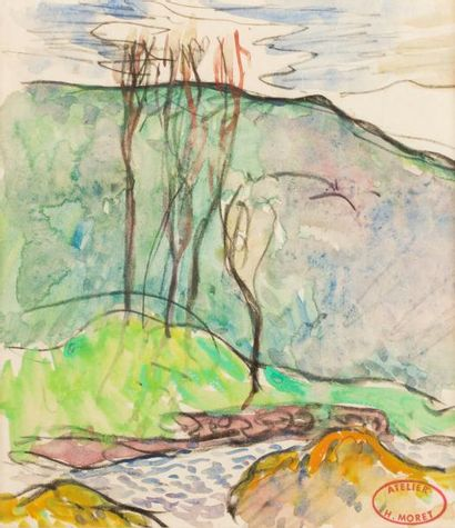 Henry MORET (Cherbourg 1856 - Paris 1913) Paysage au ruisseau Aquarelle sur trait...