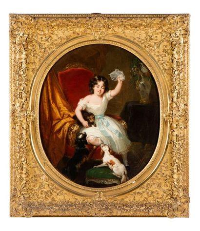 Joseph BEAUME (Marseille 1796 – Paris 1885) Jeune garçon et ses chiens Jeune fille...